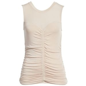 Trouve Shirred front ruched tank top